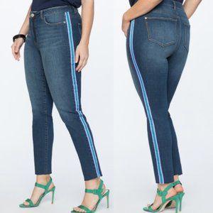 Plus- Eloquii Side Stripe Frayed Hem Skinny Jeans